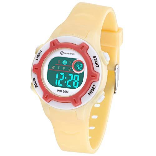 Reloj Digital para Niños Niña,Chicos Chicas,Impermeabl Deportes al Aire Libre LED Multifuncionales Relojes de Pulsera con Alarma/Cronómetro para Niños,Niñas (Amarillo-8203)
