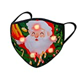 Alueeu LED Mundschutz Weihnachten Erwachsene Stoff Halstuch mit LED-Licht 3D Druck Bandana Maske Multifunktionstuch mit Motiv Mehrweg Atmungsaktiv Mund und Nasenschutz Damen Herren