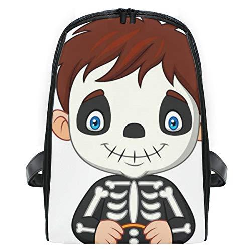 ELIENONO Mochilas Escolares Juveniles,Disfraz de Esqueleto de niño de Dibujos Animados con...