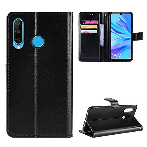Snow Color Huawei P30 Lite/nova 4e Hülle, Premium Leder Tasche Flip Wallet Case [Standfunktion] [Kartenfächern] PU-Leder Schutzhülle Brieftasche Handyhülle für Huawei P30Lite - COBYU030562 Schwarz