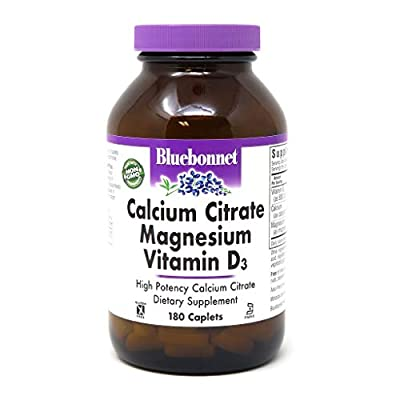 Bluebonnet Nutrition Calcium Citrate Magnesium Plus Vitamin D3 Caplets, Bone Health & Muscle Relaxation, Non GMO, Gluten Free, Soy Free, Milk Free, Kosher, 180 Caplets