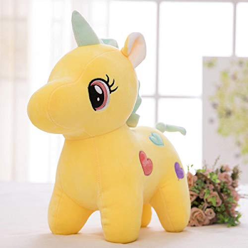 Peluches, 20-55 cm Unicornio Peluches, Suaves muñecos de Unicornio arcoíris, Juguetes de Caballos, Regalos niños de 30 cm Amarillo