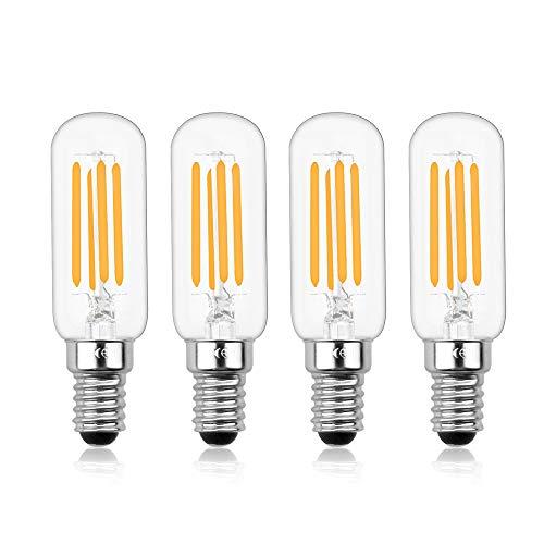 Luxvista E14 Dimmerabile Lampadina Tubolare a Filamento Edison Vintage a LED, T26 4W Equivalente a 40W con 400 LM, per Cappa da Cucina (4-Unità, Luce Calda 2700K)