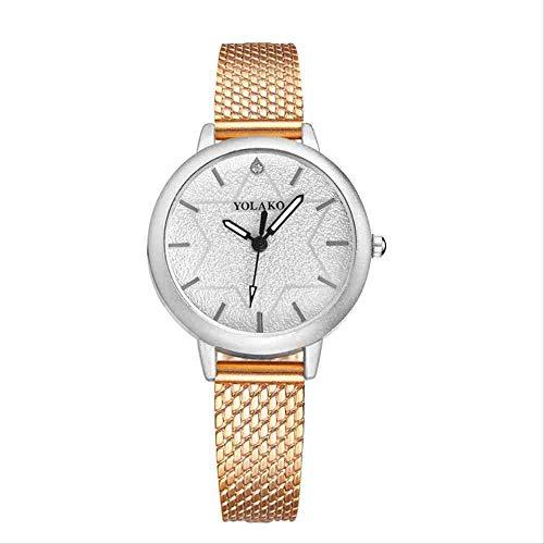DECTN Reloj de Pulsera Nuevo Reloj de Mujer con Estilo Conjunto de Temperamento Diamante Cien Set Reloj de Mujer de Cuarzo Oro Rosa