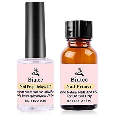 Biutee Nail Primer Natural Nail Prep Dehydrator and Primer 15ml 0.5 oz Long-Lasting Fast Air Dry Nail Dehydrator and Primer for Acrylic Nails