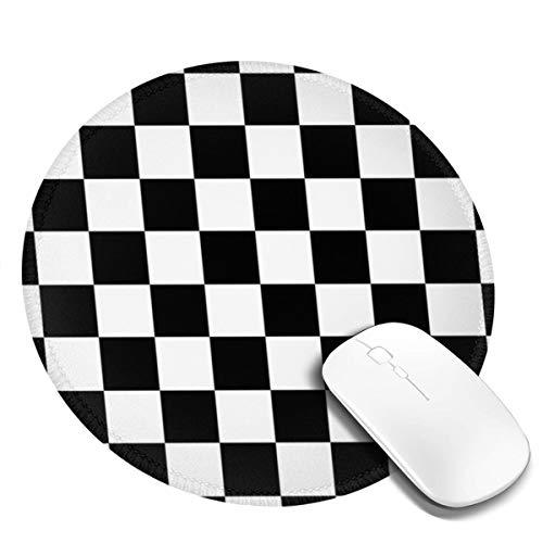 PEIGJH Redondo Alfombrilla Raton Gaming Bandera de Carreras de ajedrez a Cuadros con Base de Goma Antideslizante para Gamers, PC y Portátil
