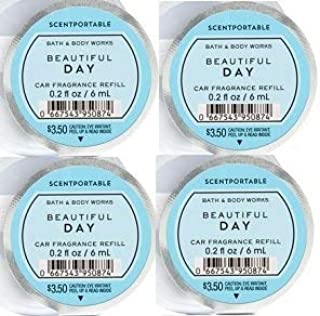 Bath and Body Works 4 Pack Beautiful Day Scentportable Fragrance Refill 0.2 Oz.