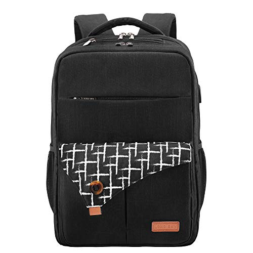 Lekesky Laptop Rucksack Casual School Bag for Travel Business College for Women Men, Black