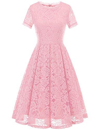 DRESSTELLS Damen Midi Elegant Hochzeit Spitzenkleid Kurzarm Rockabilly Kleid Cocktail Abendkleider Pink S