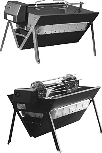 Asado uBer-Q Portable Charcoal Grill with Rotisserie Prongs (Black)