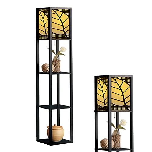 Zzlush Lámpara de pie estantes, lámpara de pie con Estante de Madera de 3 Capas, lámpara de Lectura Moderna para Dormitorio, Sala de Estar, Oficina, decoración del hogar