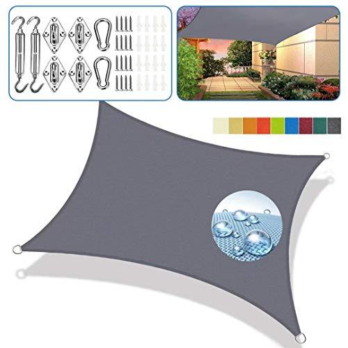 Sonnensegel aufrollbar graue Viereckig 3x5m 95% UV Schutz Regenfeste Sonnenschutzblende Atmungsaktiv Für Terrasse mit Befestigung