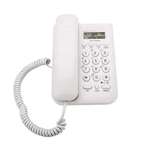 Goshyda Teléfono con Cable, KX-T076 FSK/DTMF Teléfono Fijo de Escritorio con Cable de Pared para Escritorio/hogar/Oficina(Blanco)