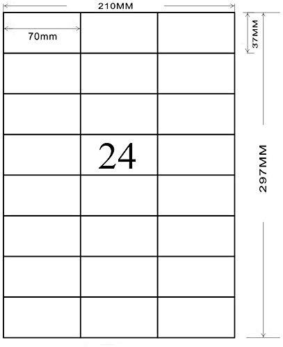 A4 Etichette Adesive Bianche Etichette, 70 x 37mm autoadesive 2400 etichette, Universali Opaco, Adatto per l'uso con Laser/Getto D'inchiostro/Fotocopiatrice