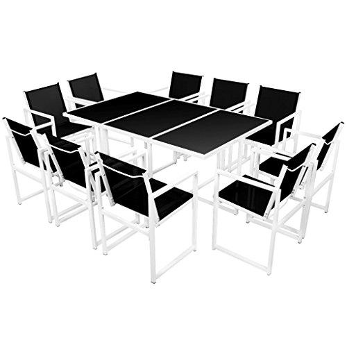 Festnight 11-delige Tuinset aluminium Eettafel en stoel salontafel voor eetkamer woonkamer keuken zwart