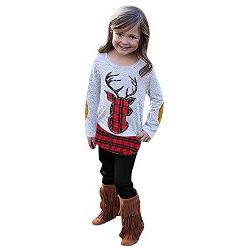 JERFER JERFER Deer Plaid Oberteile Hosen Säuglingsbabys Weihnachten Stickerei Kleidungsset