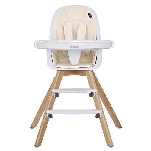 Evolur Zoodle 2-in-1 High Chair,Booster Feeding Chair, Modern Design,Toddler Chair I Removable Cushion I Adjustable Tray I Baby, Infant, and Toddler in Ivory