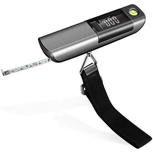 Báscula digital para equipaje de PAMIYO, escalas portátiles con cinta métrica, balanza colgante con indicador de temperatura, 50 kg de capacidad para regalo, viaje, exterior, hogar (plateada)
