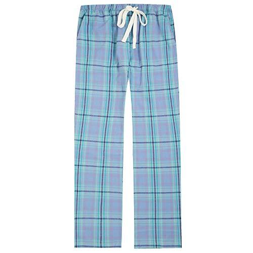 Twin Boat Plaid Pajama Pants Women, Cotton Flannel Pajama Pants - Lavender-Green - M