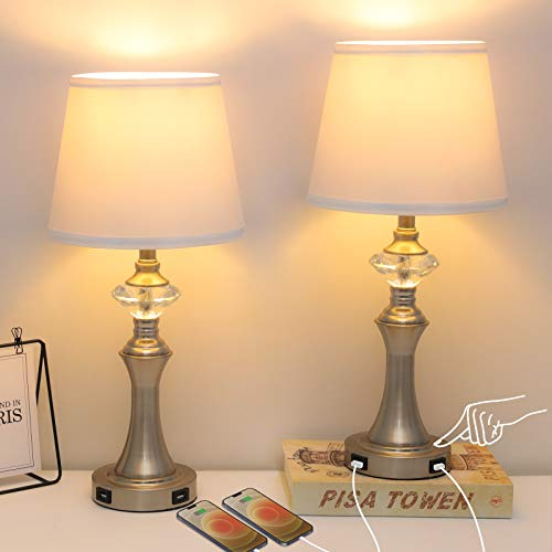 Ganiude Modern 3-Way Dimmable Table Lamps for Living Room Set of 2,Touch Control Bedside Nightstand...