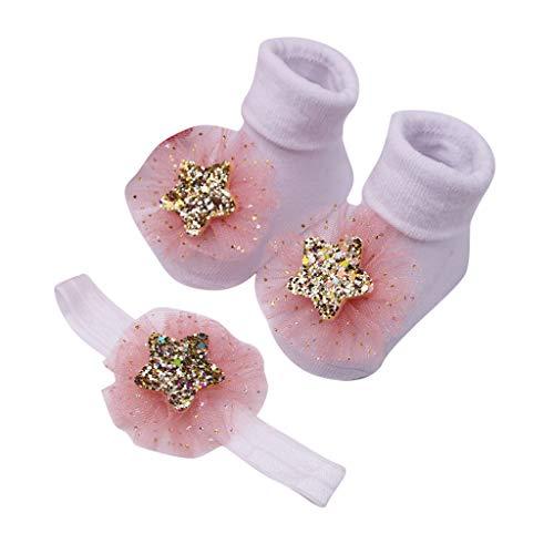 MAYOGO Calcetines Bebe Ceremonia Invierno Calcetines para bebés Recien Nacidos Calcetines Antideslizantes de Algodón para Niñas Calcetines de Campana de Floral Encaje 0-2 años