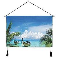 MISCERY タペストリー、ヤシの木と漁船のパラダイス画像のあるエキゾチックなハワイのビーチ、壁掛けタペストリー壁画 壁飾り 家 リビングルーム ベッドルーム 部屋 おしゃれ飾り モダンなアート