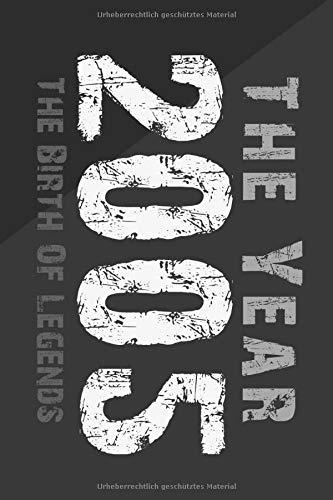 The YEAR 2005 the Birth of LEGENDS:: Notizbuch a5 kariert, Geburtstagsgeschenkidee für Männer und Frauen, Erwachsene oder Junge, Journal Sketchbook Tagebuch. Notebook. 15 geburtstag geschenk