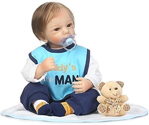 XL68chao 55cm Silikon Reborn Babypuppe Toys Lebensechter Weißer Stoff  Neugeborene Neugeborene Puppe Kinderspielzeug für Kinder