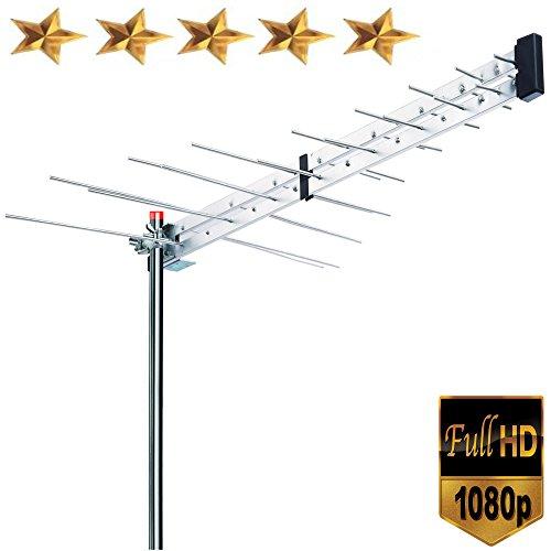 Premium BoostWaves Yagi Roof Top TV Antenna Optimized HDTV Digital Outdoor Directional Aerial VHF UHF FM - Solid Metal Construction 2 Year Warranty