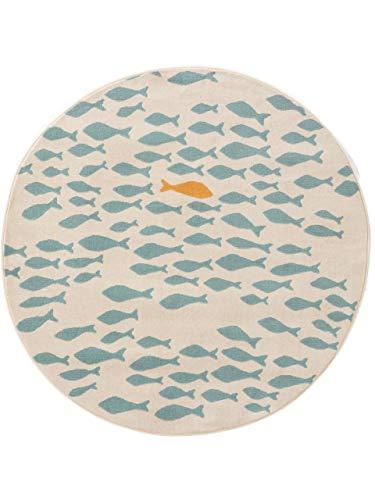 benuta KIDS Kinderteppich Juno Beige/Blau ø 120 cm rund - Teppich für Kinderzimmer, 4053894834806