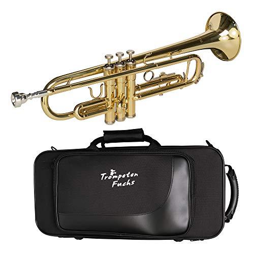 Cascha Trompeten Fuchs Bb Trompete für Anfänger I hochwertige Trompete Bb mit Mundstück Koffer & Reinigungstuch I Einsteiger-Trompete mit leichter Ansprache & eindrucksvollem Klang I Trompete Gold