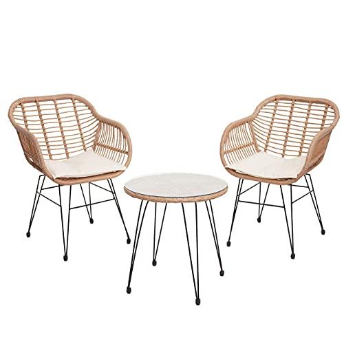Mendler Poly-Rattan Garnitur HWC-G17, Balkon-Set Gartengarnitur Sitzgarnitur Sitzgruppe Stuhl - naturfarben, Kissen Creme