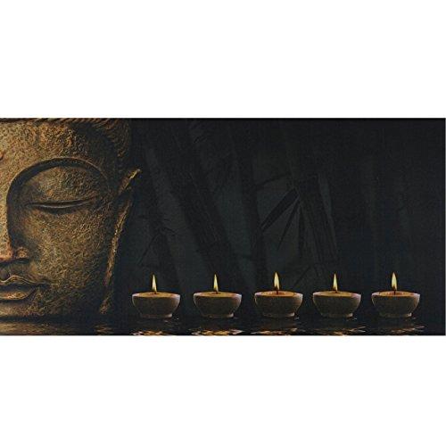 Mendler LED-Bild, Leinwandbild Leuchtbild Wandbild, Timer - 110x55cm Buddha, flackernd