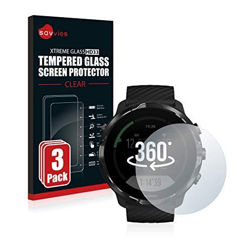 savvies Cristal Templado Compatible con Suunto 7 (3 Unidades) Protector Pantalla Vidrio Proteccion 9H Pelicula Anti-Huellas