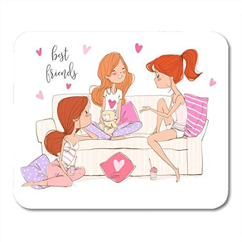 Muismat Beste drie gelukkige meisjes die op de bank zitten en muismat voor notebooks, desktop computers muismatten hebben.