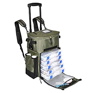 X-Large 'Recon' Rolling Fishing Backpack, Tackle Box Storage Bag - Non-Corrosive Fishing Tackle Bag with (5X) 3650 Boxes - Fisherman Gifts for Men, Bags, Backpacks and Tackle Box Organizer (Green)