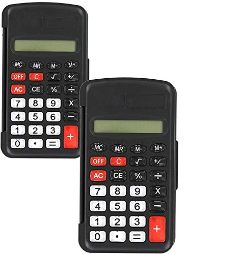 Emraw 8-Digit Pocket Size Calculator with Flip Cover Solar Powered Desktop Basic Calculator with Electronic Number Handheld Sharp Business Portable LCD Display Calculator (Pack of 2)