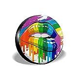 Couverture de Pneu de Roue de Secours Pride Rainbow Lips Pride Protections de Pneu universelles Nouveauté