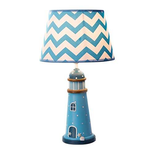 Lampada da Tavolo Lampada da comodino for camera da letto Lampada da tavolo for camera for bambini Lampada da tavolo mediterranea Decorazione stile faro blu Boy Girl Dimmerabile (Color : Blue-Small)