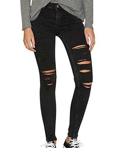 Gladiolus Damen Skinny Hose Jeans Strecken Ripped Loch Lässige Jeanshose Schwarz EU40