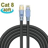 Cat 8 イーサネットケーブル インターネットネットワークコード ギガビットイーサネットケーブルより高速 26AWG 40Gbps 2000Mhz SSTP LANケーブル 金メッキRJ45コネクタ付き ルーター モデム ゲーム Xbox用 40 feet