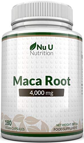 Cápsulas de Raíz de Maca de 4000 mg - 180 Cápsulas Vegetarianas y Veganas - Suministro Para 6 Meses - Raíz de Maca Peruana de Alta Potencia - Fabricada en el Reino Unido