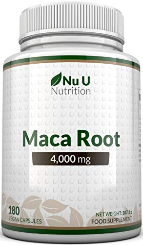 Maca Root Capsules 4000mg - 180 Vegetarian and Vegan Capsules - 6 Month Supply - High Strength Peruvian Maca Root - Made in The UK