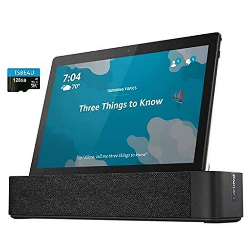 """Lenovo Smart Tab M10, 10.1""""Full HD, 3.0GB LPDDR3, 32GB Storage, 1.8 GHz Octa-Core, Slate Black Tablet with Alexa Enabled Charging Dock Included, Android 8.0, Bundled with TSBEAU 128GB Micro SD Card"""