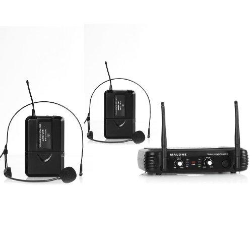 Malone UHF-250 Duo2 microfoni senza fili (2 microfoni ad archetto, uscite XLR e jack-AUX per la trasmissione via cavo, 2 canale UHF, cavo di alimentazione) - nero