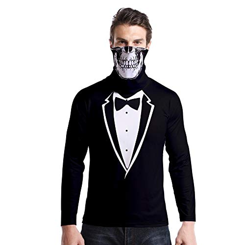 T-Shirt À Manches Longues,Casual Long Sleeve Imprimé Noir Et Blanc Costume Arc Rond Col Unisex T-Shirt Tops Imprimé Chemisier Body Shirt avec Écharpe Crâne Hommes Femmes Automne Hiver Pullover