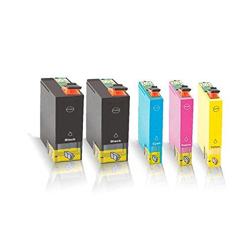 5x kompatible Tintenpatronen für Epson Workforce WF7015 WF7515 WF7525 T1301 T1302 T1303 T1304 C13T13014010 C13T13024010 C13T13034010 C13T13044010 - Sparpack BK C M Y - Office Pro Serie