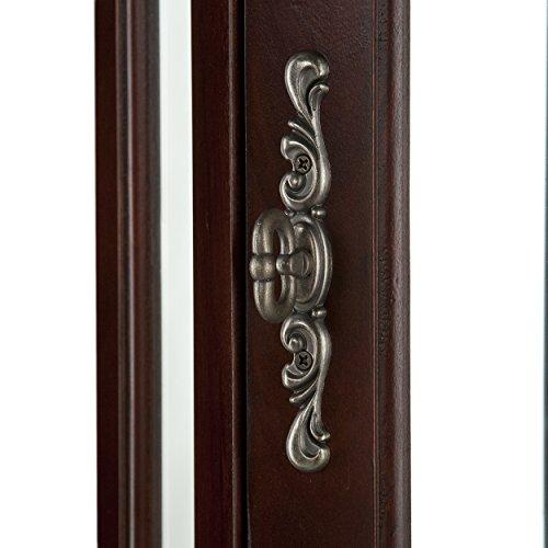 Lighted Corner Curio Cabinet - Mahogany Wood Finish - Three Tier Adjustable Shelves