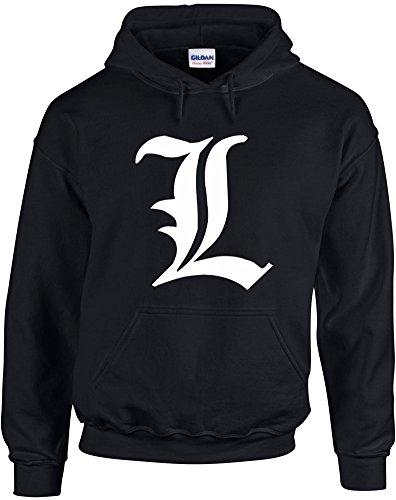 Print Wear Clothing Death Note L, Manga, Detective, L Change The World inspiré Imprimé Sweat à Capuche - Noir/Blanc M= 96/101 cm