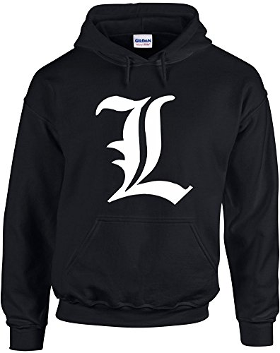 Print Wear Clothing Death Note L, Manga, Detective, L Change The World inspiré Imprimé Sweat à Capuche - Noir/Blanc M= 96/101 cm